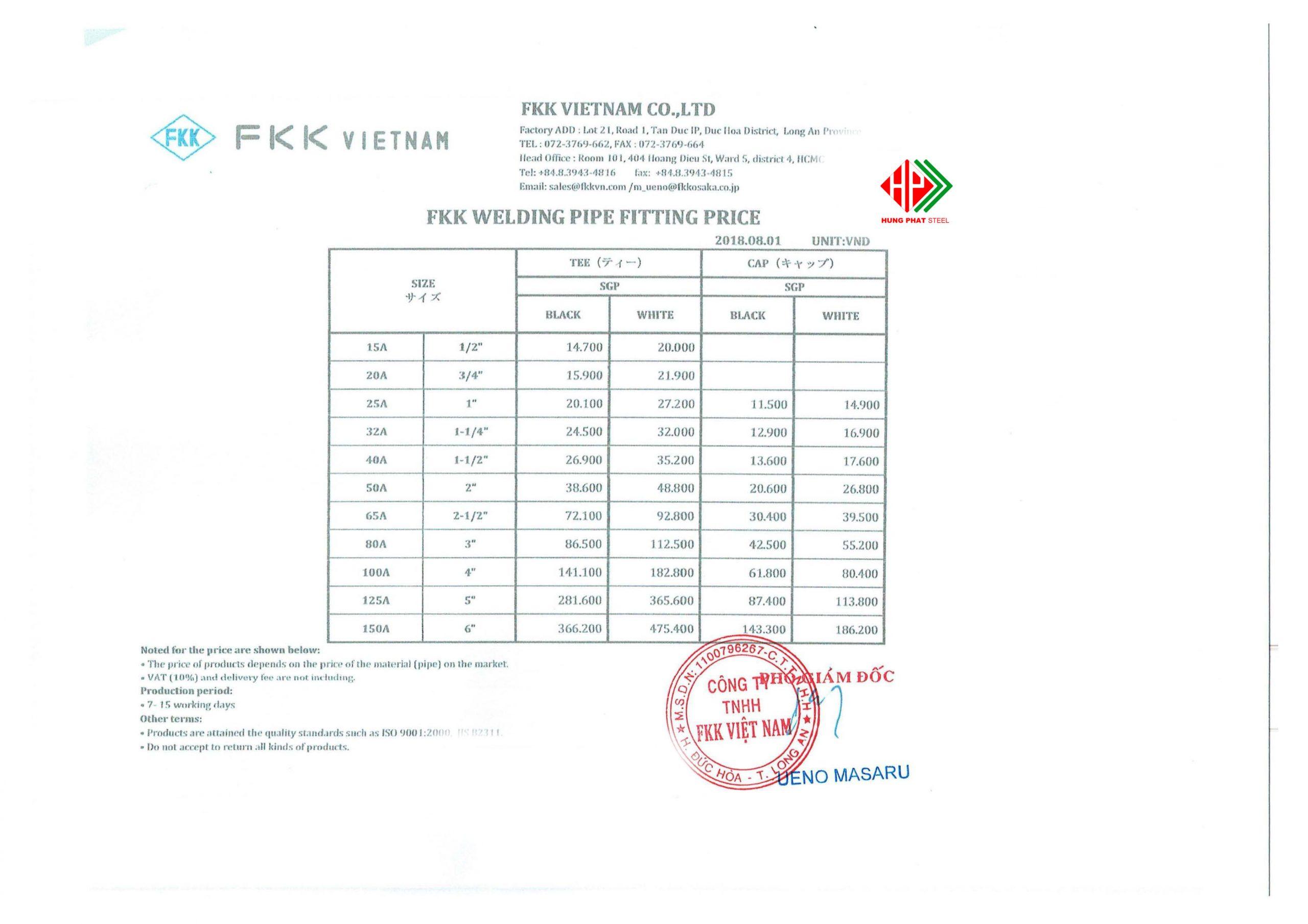bảng giá phụ kiện hàn Fkk